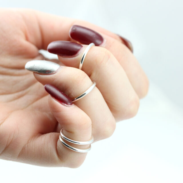 3 x Silver Above Knuckle Rings, Simple Band, Midi Ring, Tip Ring Regalrose