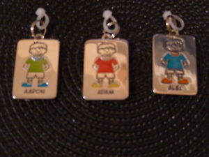 Kids-Personalized-ID-Tag-Charm-Zipper-Pull-Key-Chain-Bag-Boys-Names-D-to-I