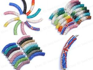 1 Pcs Curved Side Ways Czech Crystal Round Tube Fit Necklace Bracelets 50MM
