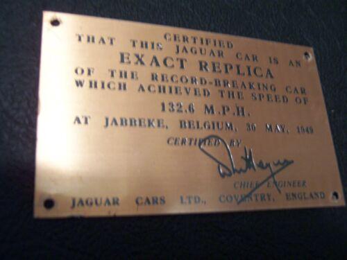JAGUAR SPEED PLAQUE FOR DASH OF ROADSTER 132M.P.H.