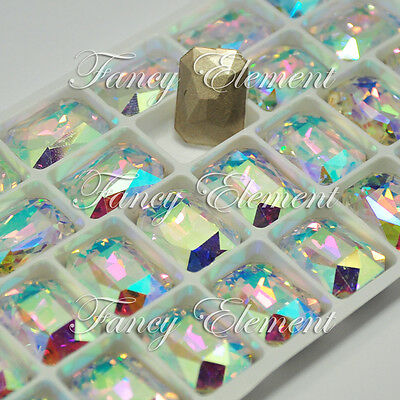 24pcs Sew On Rhinestones 4627 Rectangle 18x13mm Clear AB Crystal Foiled Glass