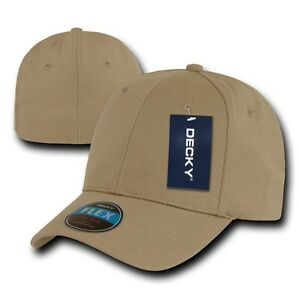 Khaki-Plain-Solid-Blank-Flex-Baseball-Fit-Fitted-Ball-Cap-Caps-Hat-Hats-OSFA