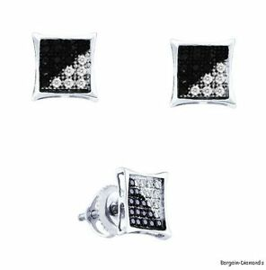 Black-White-Diamond-10-carat-kite-star-studs-screwback-2-color-earrings-925