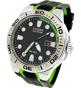 Citizen Eco-Drive BN0090-01E Men s Scuba Fin Green Rubber Band ... 7405dbfdd