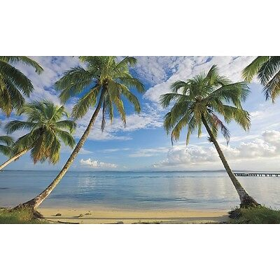 BEACH WALLPAPER MURAL Palm Trees Wall Murals Tropical Decor Bathroom Decorations