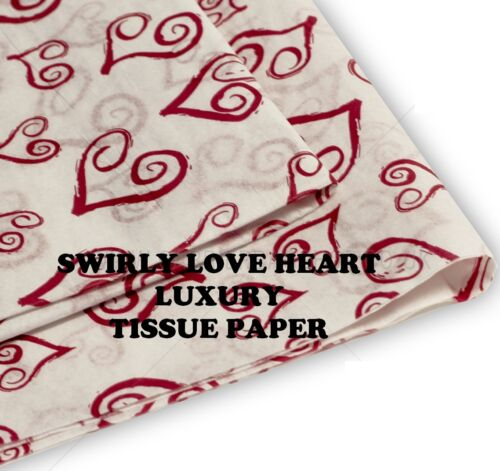VALENTINES DAY RED SWIRLY LOVE HEART DESIGN TISSUE PAPER 50CMSX37CMS