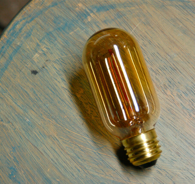 Radio Style Light Bulb, Tubular Smoked Amber Glass Vintage Edison Repro. 30 Watt