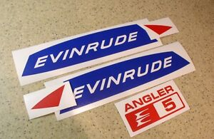 Evinrude-Angler-5-HP-Vintage-Motor-Outboard-Decal-Kit-FREE-SHIP-FREE-Fish-Decal
