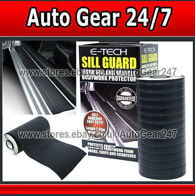 E-Tech Black Car Door Sill Guard Body Bumper Scratch Protector Protective Strip