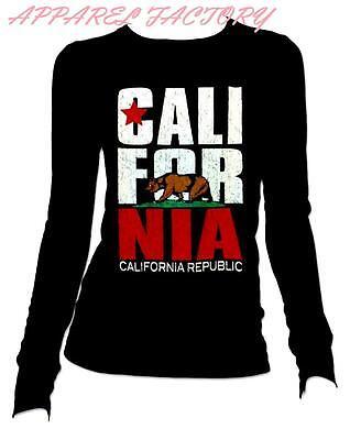 New CALIFORNIA REPUBLIC BEAR Round Neck Long Sleeve T Shirt Small to XL