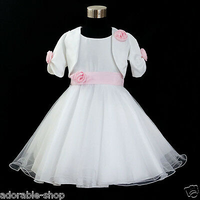 Kids Pink White Christening Flower Girls Dress + Cardigan SZ 2-3-4-5-6-7-8-10-12
