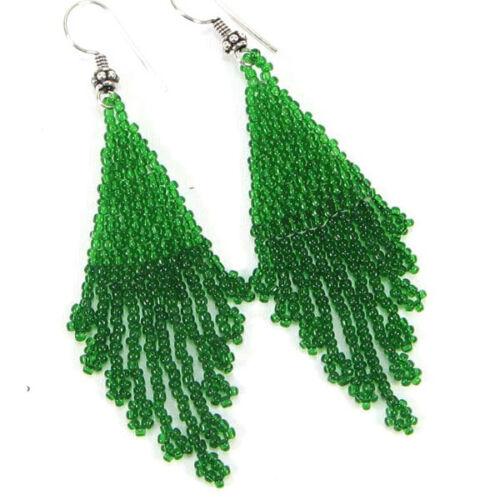 GREEN SEED BEADED HANDMADE EARRINGS