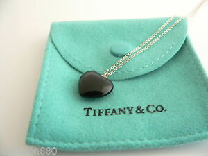 63eb392f74a5f Details about Tiffany & Co Silver Black Onyx Gemstone Heart Necklace  Pendant Chain Rare