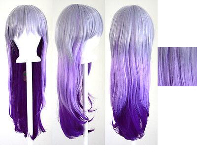 28'' Long Straight Layered Fade Purple Cosplay Wig