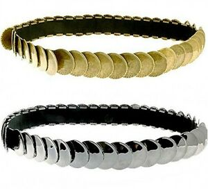 Vintage-Brass-Gold-Gunmetal-Grey-Coins-Elasticated-Stretchy-Waist-Belt-All-Sizes