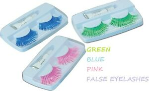 neon-80-039-s-fancy-dress-Costume-Accessory-false-Eyelash-lashes-Pink-Green-Blue