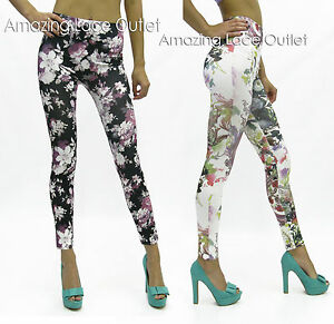 Floral-Print-Leggings-Animal-Print-Trendy-High-Waist-Tights-Stretch-Flower-Pants
