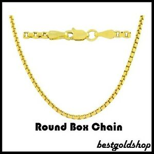 1-70mm-ROUND-BOX-CHAIN-Necklace-14K-Yellow-Gold-with-Lobster-Claw-Clasp