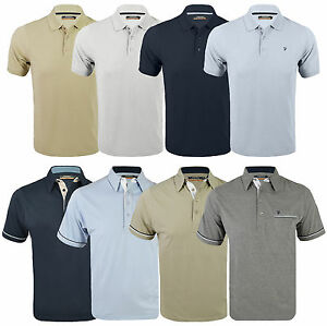 New-Farah-Mens-Polo-Jersey-Poly-Cotton-Beige-Grey-Blue-Weekend-Pique-T-Shirt