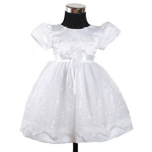 NEUF-filles-blanc-fete-de-bapteme-Fleurs-Fille-Robe-9-12-mois