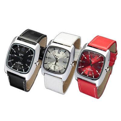 4 Colors Men's Boy's Leatheroid Band Square Face Quartz Movement Wrist Watches