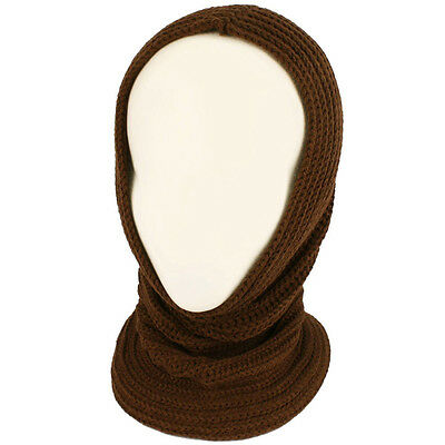 4-1 Chunky Knit Pullover Beanie Headscarf Circle Loop Neckwarmer Scarf Hat Brown