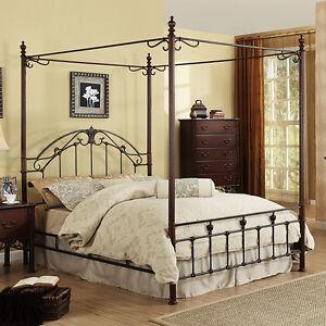 new home bedroom room decor furniture king size cast iron metal canopy bed ebay. Black Bedroom Furniture Sets. Home Design Ideas