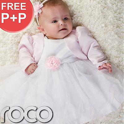 Baby Girls Pink White Dress Pink Bolero Jacket Wedding Babys Bridesmaid Dresses