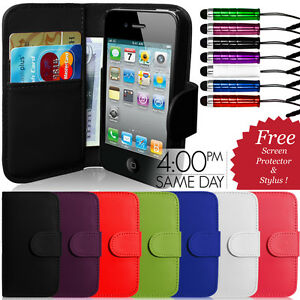 FLIP-WALLET-LEATHER-CASE-COVER-FITS-APPLE-IPHONE-4-4S-FREE-SCREEN-PROTECTOR