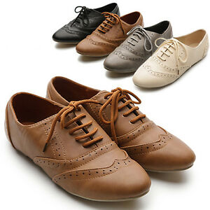 New-Womens-Shoes-Classics-Lace-Ups-Dress-Oxfords-Low-Flats-Heels-Multi-Colored