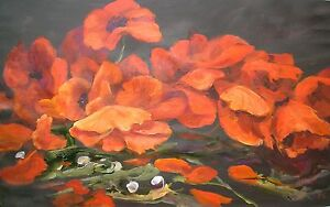 ORIGINAL-PENNY-CLANDON-S-W-A-Society-Womens-Artists-FLOWER-RED-POPPIES-PAINTING
