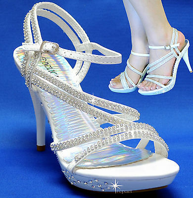 New women's shoes rhinestones evening stilettos party wedding prom white