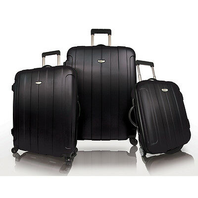Travelers Choice Black Rome 3-Piece Hardside Spinner Lightweight Luggage Bag Set