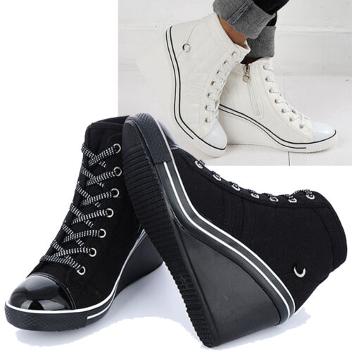 Womens Platform Sneakers Zip Wedges Heels High Ankle Boots Canvas Shoes Trainer
