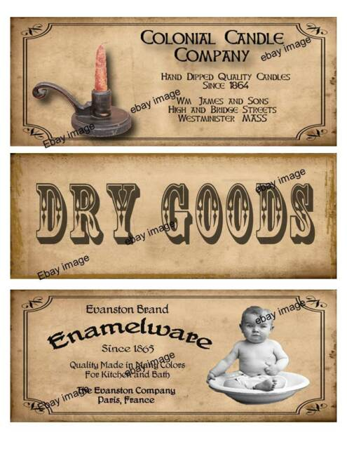 Primitive Jar Box Pantry Labels FH375:      Candles, Dry Goods, Enamelware