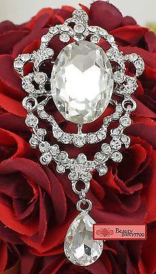 Fashion Noble Glass Rhinestone Crystal Diamante Silver Brooch Pin Charm Pendant