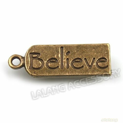400x Nice Believe Tag Dangle Alloy Charms Bronze Pendants Findings 22x7x1mm LC