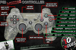 PLAYSTATION-3-PS3-MODDED-ADJUSTABLE-RAPID-FIRE-CONTROLLER-10-MODE-NEW