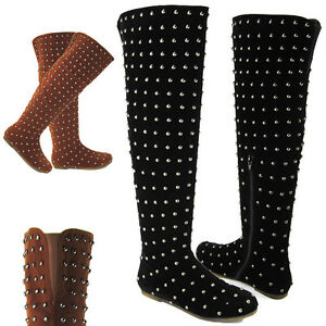 LADIES-OVER-THE-KNEE-WOMENS-STUDDED-FLAT-ZIP-WINTER-LOW-HEEL-RIDING-BOOTS-SIZE
