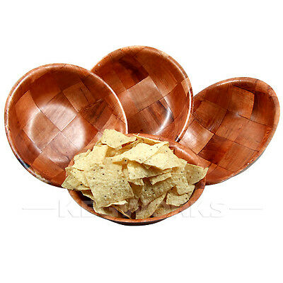 "Round Woven Wood Snack / Salad Bowl - 6"" 10"" + 12"" Available - Bar Serving Dish"