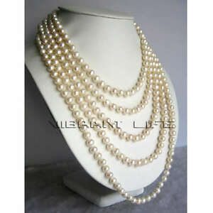 Long-100-034-6-7mm-White-Freshwater-Pearl-Necklace-Natural-Color