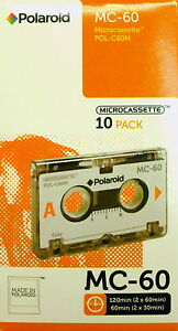 Microcassettes-Polaroid-MC-60-Brand-New-Micro-Audio-Tapes-in-a-Sealed-10-Pk-Box