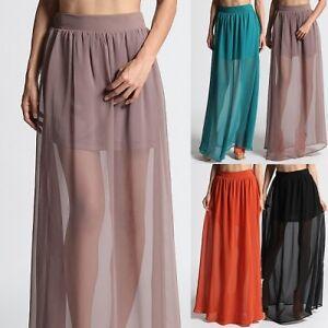 MOGAN-High-Waisted-SHEER-MAXI-LONG-SKIRT-Chiffon-Layered-Mini-Skirt-Lining-Inset