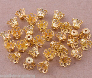 500-pcs-Gold-plated-little-flower-Loose-bead-caps-beads-findings-6mm