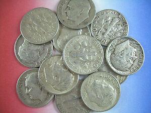 12-ROOSEVELT-DIMES-1-Oz-90-pure-SILVER-Pre-1965-US-U-S-Coins-1964-amp-older-Junk