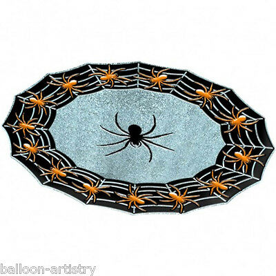 40cm Halloween Gothic Spider Sparkle Plastic Party Tray Platter