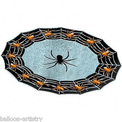 40cm Halloween Gothic Spider Sparkle Plastic Party Tray Platter