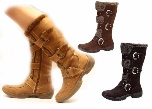 Women's Winter Comfort Flat Heel Mid Calf Knee High Buckle Zipper Boot Shoes NEW