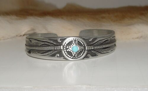 Pewter Cuff Bracelet w/ genuine sleeping beauty Turquoise LF Narrow