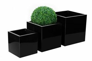 Large-Square-Black-Indoor-Outdoor-Planter-Home-Garden-Office-Plant-Pot-Box